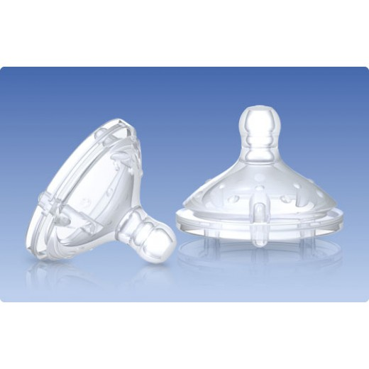 Nuby 2 Pack Natural Touch Replacement Nipple - Triple Flow