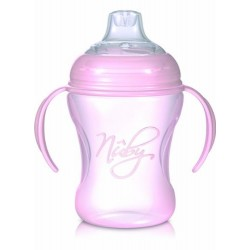 Nuby cup natural sipper with removable handles 240ml - Pink
