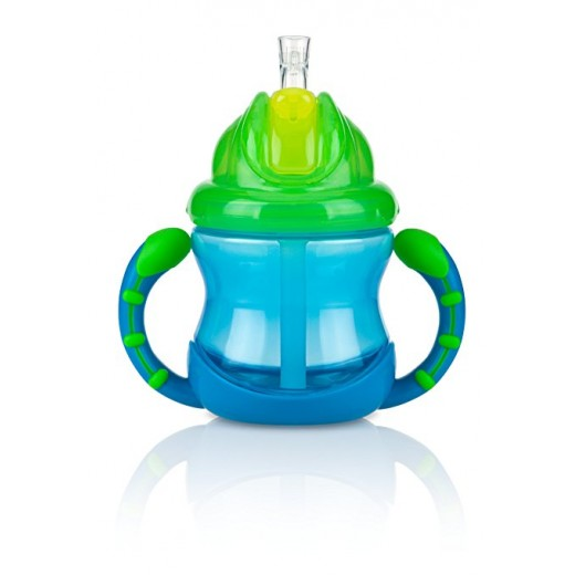 Nuby Two-Handle Flip N' Sip Straw Cup, Blue with Green
