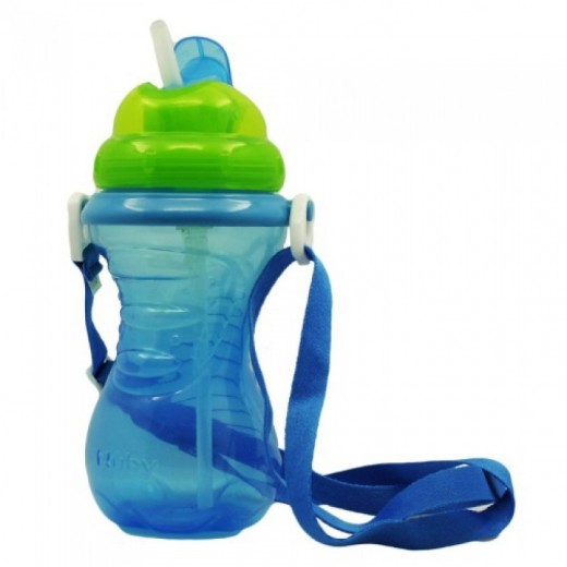 Nuby Flip-It Straw Cup With Strap - Blue
