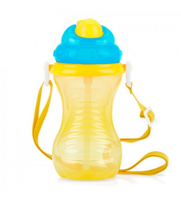 Nuby Flip-It Straw Cup With Strap - Yellow
