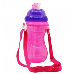Nuby Flip-It Straw Cup With Strap - Purple
