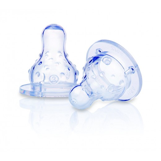 Nuby Soft Silicone Anti-Colic Nipple - Set of 2 (standard neck)