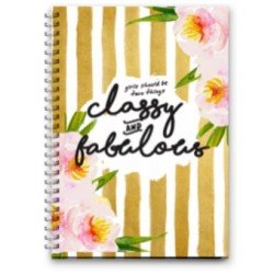 Notebook Wire Small - Girls Should Be Two Thing Classy and Fabulous -16x11.5cm