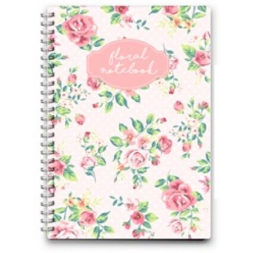Notebook Wire Small - Foral - 16x11.5cm