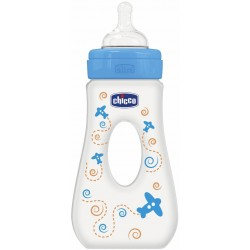 Chicco Travelling Bottle 240 ML Silicone - Fast Flow (Blue)