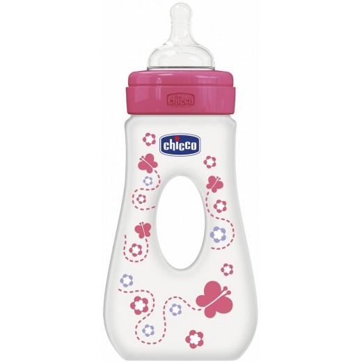 Chicco Travelling Bottle 240 ML Silicone - Fast Flow - (Pink)
