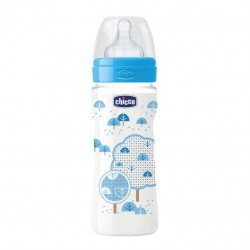 Chicco Wellbeing Bottle 330ml, Fast Flow Silicone (Blue)