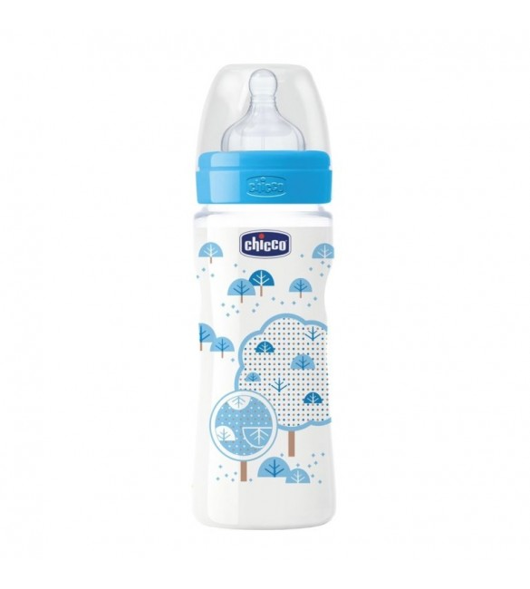 Chicco Wellbeing Bottle 330ml, Silicone (Blue)