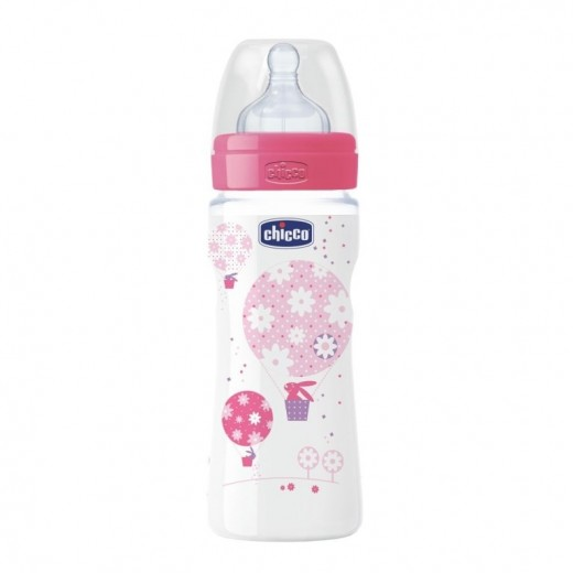 Chicco Wellbeing Bottle 330ml, Silicone (Pink)