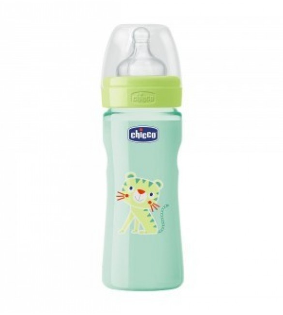 Chicco - Well-Being Bottle 250ml- Silicone (Tiger)