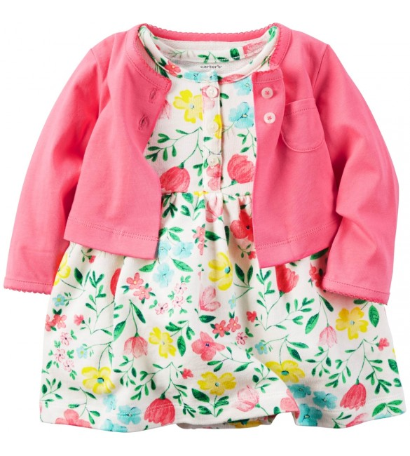Carter's Carter's White Floral Dress & Pink Cardigan