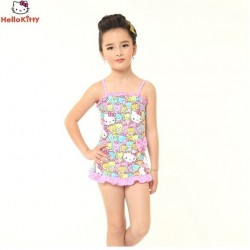 Hello Kitty Girls Swimming Dress - Pattern Pink