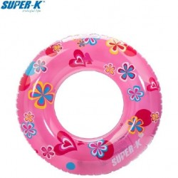 Super-K 50cm Inflatable Ring - Roses and Heart Pattern