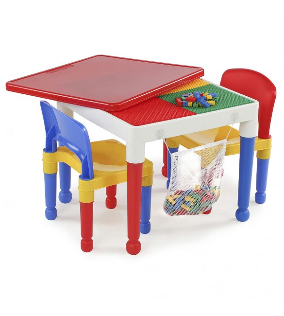 Tot Tutors 2-in-1  Building Block Activity Table and 2 Chairs Set
