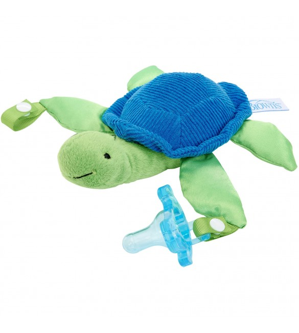 Dr Brown's Turtle Lovey with Blue One-Piece Pacifier