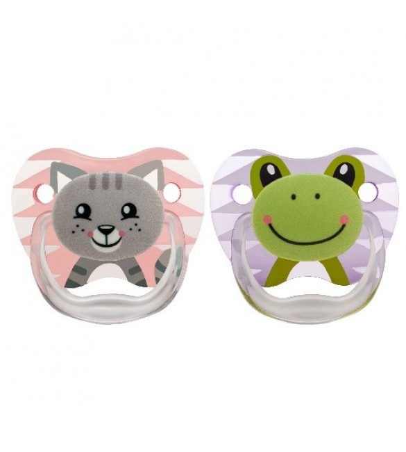 Dr Brown's 2 Pack Prevent Orthodontic Cat-Frog Pacifier with Clip -(0-6m)