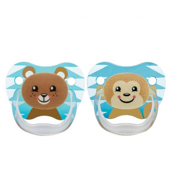 Dr Brown's 2 Pack Prevent Orthodontic Bear-Monkey Pacifier with Clip -(6-12)