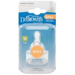 """Dr. Brown's Level 3 Silicone Standard Neck """"Options"""" Nipple - 2 Pack"""