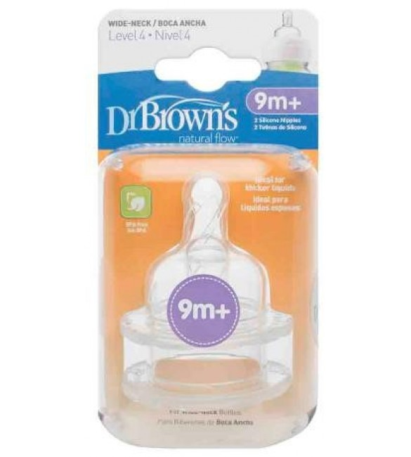 "Dr. Browns Level 4 Silicone Wide-Neck ""Options"" Nipple, 2-Pack"