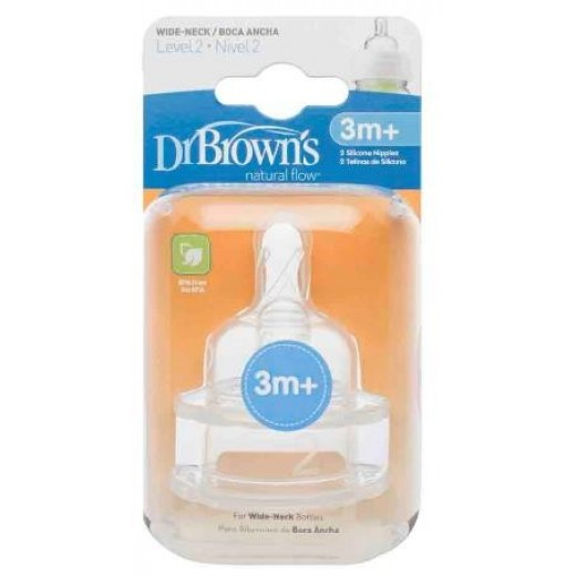 "Dr. Brown's Level 2 Silicone Wide-Neck ""Options"" Nipple - 2 Pack"