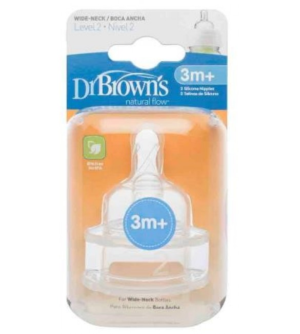 "Dr. Browns Level 2 Silicone Wide-Neck ""Options"" Nipple, 2-Pack"
