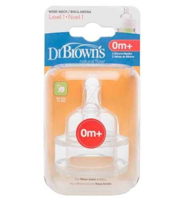 "Dr. Browns Level 1 Silicone Wide-Neck ""Options"" Nipple, 2-Pack"