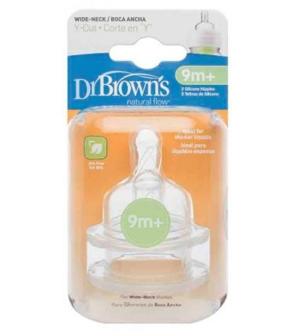 "Dr. Browns Level Y-Cut Silicone Wide-Neck ""Options"" Nipple, 2-Pack"