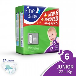 Fine Baby Super Dry - Smart Lock, Size 6 Junior, 22+ Kg, 24 PCS