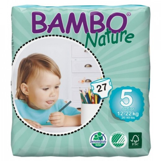 Bambo Nature Baby Diapers Classic, Size 5 (12-22Kg), 27 Count