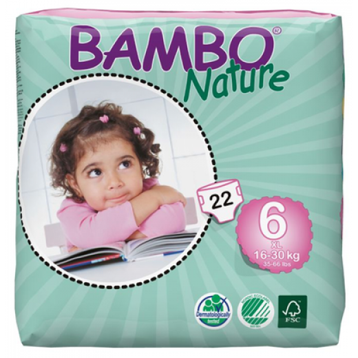 Bambo Nature Baby Diapers Classic, Size 6 (16-30Kg), 22 Count