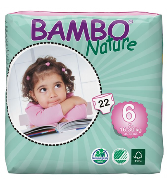 Bambo Nature Eco Disposable Nappies XL 16-30 Kgs - Size 6