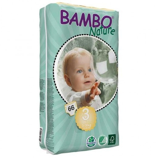Bambo Nature Baby Diapers Classic, Size 3 (5-9Kg), 66 Count