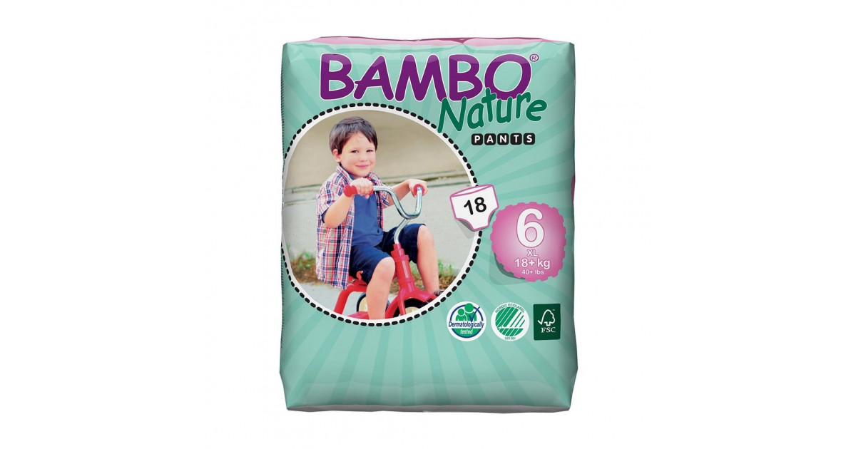 18+ kg, 40+ lb Bambo Nature XL Training Pants - 2 Packs of 18 Size 6