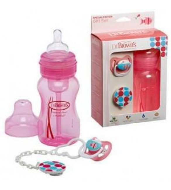 Dr.Brown's Gift Set (Wide Neck Bottle /Pacifier /Clip) - Pink