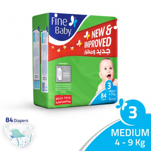 Fine Baby Super Dry - Smart Lock - Size 3 Medium 4-9 Kg - Mega Pack - 84 PCS