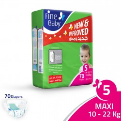 Fine Baby Super Dry - Smart Lock, Size 5 Maxi 10-22 Kg- Mega Pack - 70 PCS
