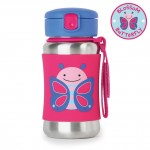 Skip Hop Zoo Stainless Steel Straw Bottle, Butterfly