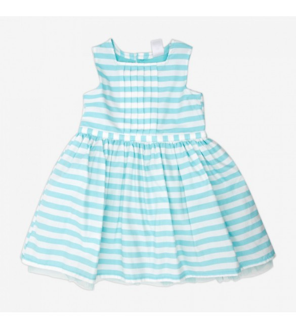 Carter's Striped Poplin Dress-Blue-3M