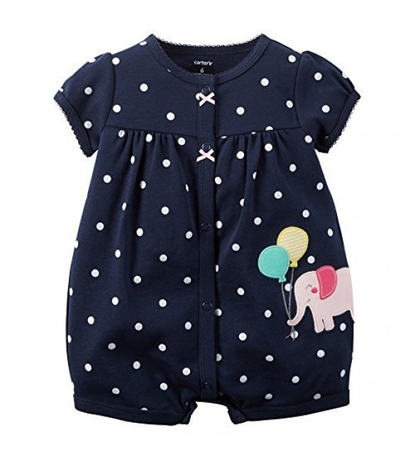 Carters Baby Girls 1-piece Appliqué Snap-Up Cotton Romper 6 Months