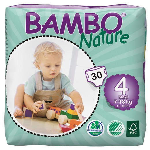 Bambo Nature Baby Diapers Classic, Size 4 (7-18Kg), 30 Count