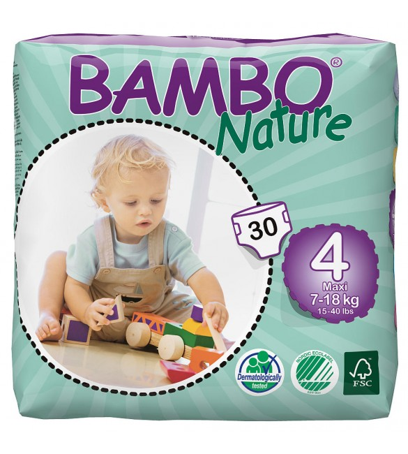 Bambo Nature Maxi Size 4 (15-40lb / 7-18kg) Eco Nappies - 30 pieces per Tall Pack