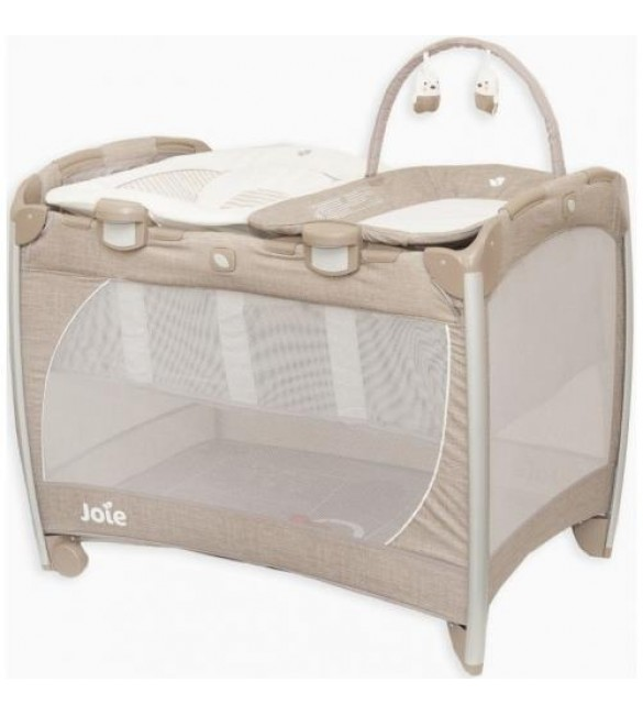 Joie Excursion Playard Change & Bounce-Tan Stripe Brown
