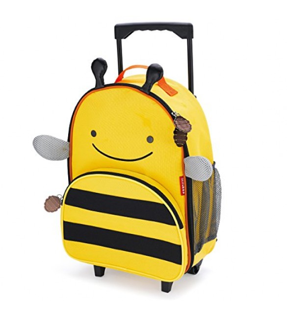 Skip Hop Zoo Little Kid Travel Rolling Luggage Backpack - Bee