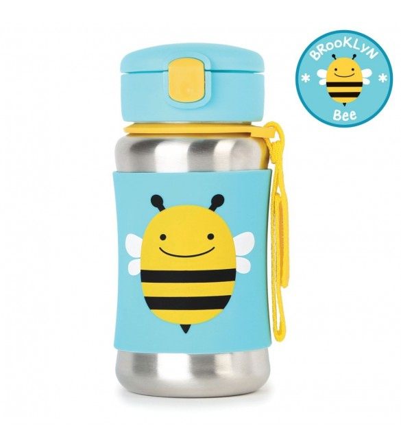 Skip Hop Zoo Stainless Steel Straw Bottle - Bee