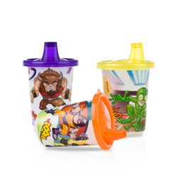 Nuby Mighty Action Crew Wash or Toss Cups -  1 Piece (Available in 3 Colors )