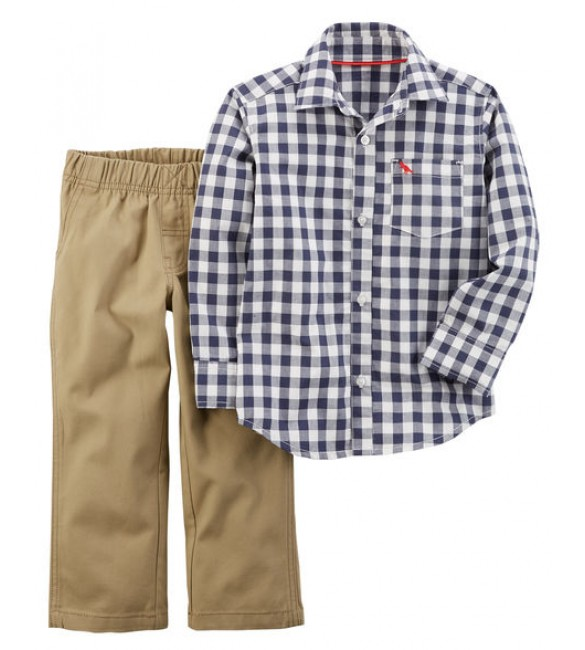 2-Piece Checkered Button-Front & Canvas Pant Set