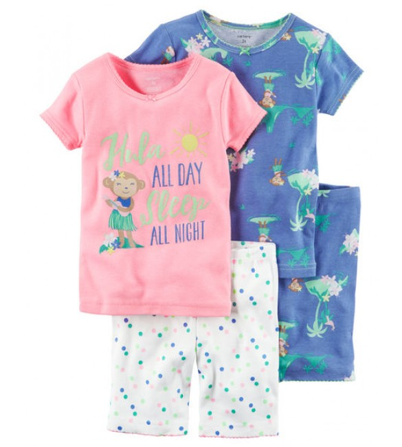 4-Piece Snug Fit Neon PJs
