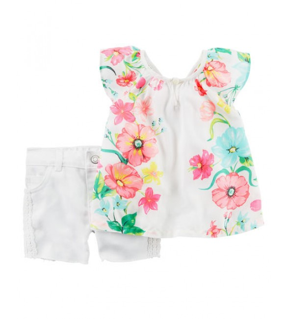 2-Piece Floral Tank & Denim Short Set