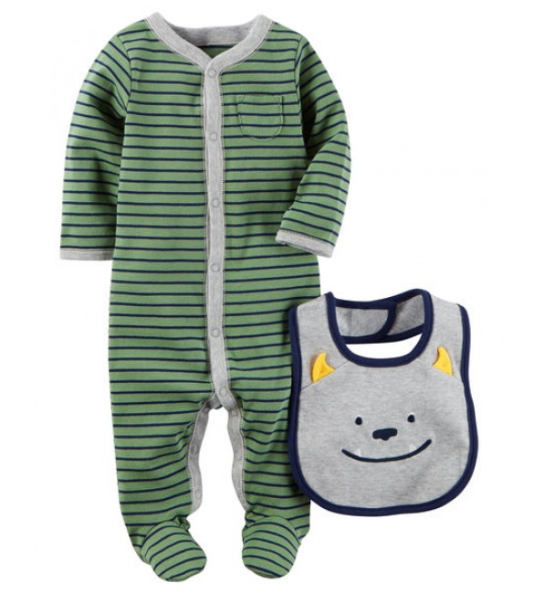 2-Piece Snap-Up Sleep & Play & Bib Set